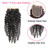 Bestsojoy Peruvian Kinky Curly 4 Bundle Deals With Lace Closure Curly Hair Weaves