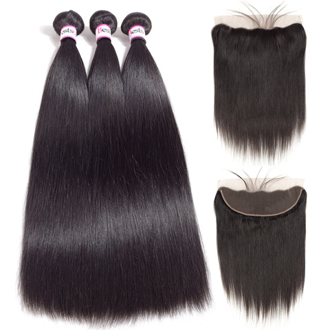Bestsojoy Brazilian Straight Virgin Hair 3 Bundles With Ear to Ear Lace Frontal Brazilian Human Hair With Frontal
