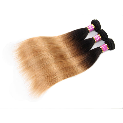 Bestsojoy 1b 27 Ombre Brazilian Straight 3 Bundles Ombre Brazilian Hair Wave Bundles