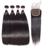 Bestsojoy Brazilian Virgin Straight Hair 4 Bundle Deals With 4*4 Lace Closure