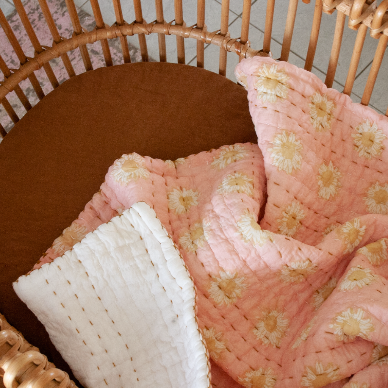 Sunflower Kantha Baby Blanket