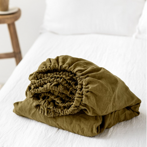 Baby European Stonewashed Linen Fitted Sheet - Olive