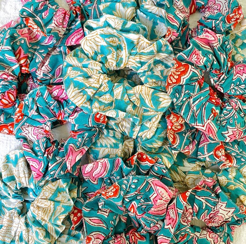BLOCK PRINT SCRUNCHIES (TEAL MIXED)