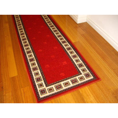 Paz Red Border Square Hallway Runners