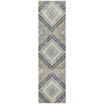 Babylon Diamond Navy Runner Rug