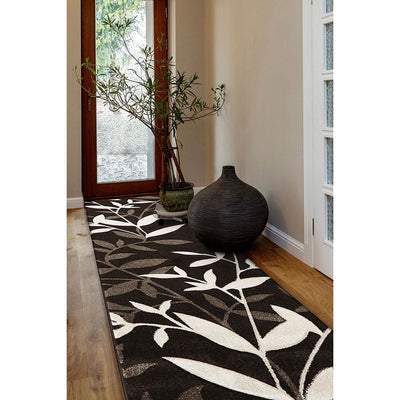 Stunning Spring Leaf Rug Dark Brown