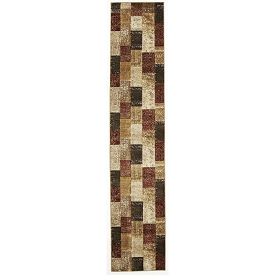Patchwork Design Rust Rug