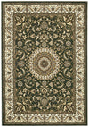 Medallion Rug Green with Ivory Border