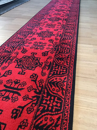 Tribe Black Red Diamond Hallway Runners Free Delivery Australia Wide