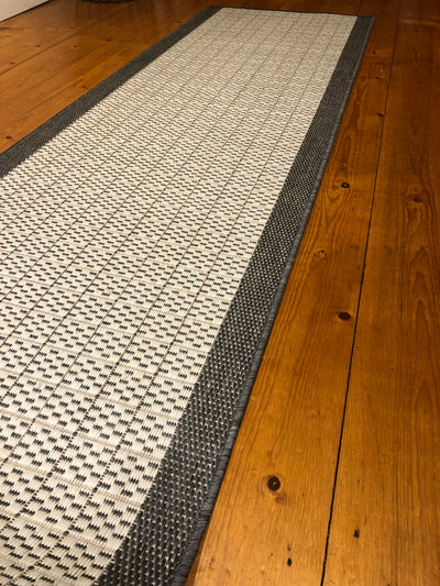 Suva Silver Grey Hall Runner Rubber Backed 67cm Wide