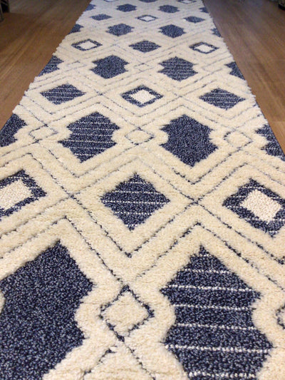 Hall Runner Carva Blue White Super Soft Pile