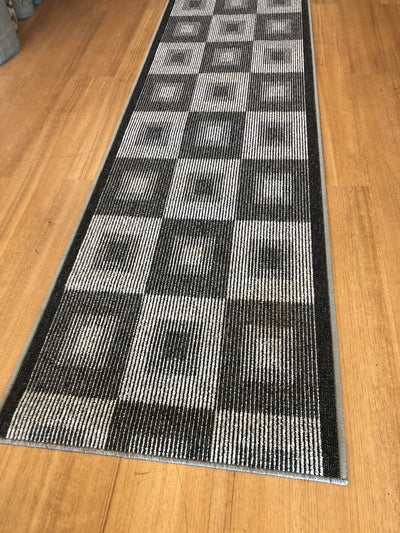 Mia 642 Grey Rubber Back Hallway Runner