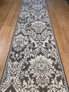 Suva Grey White Floral Hall Runner Rubber Backed 67cm Wide