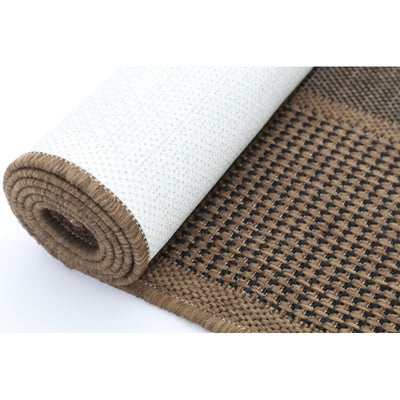 Sisal Brown Black Squares Outdoor Rug