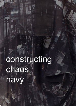 Fraser Crowe Swatch art print Constructing Chaos Navy, ethical fashion, sustainable fashion, designer clothes, plus size clothing, textile print clothing, luxury online fashion, slow fashion