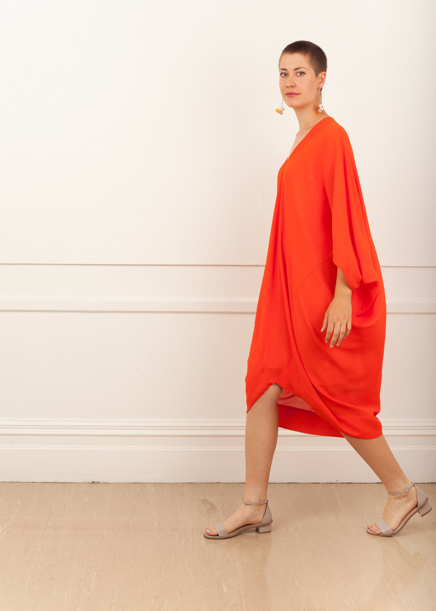 Fraser Crowe Diamond Dress Long Orange, ethical fashion, sustainable fashion, designer clothes, plus size clothing, textile print clothing, luxury online fashion, slow fashion