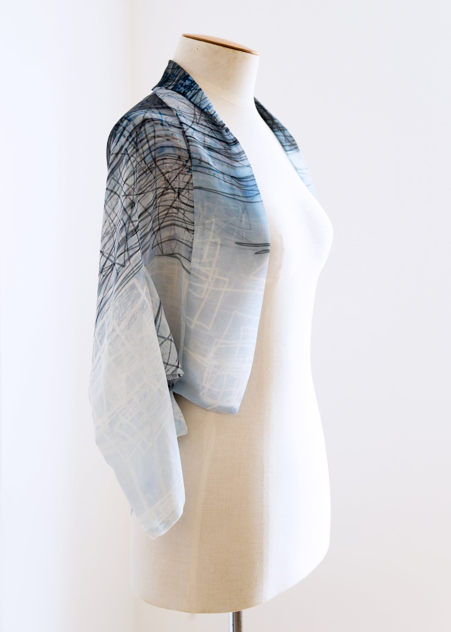 Heads or Tails Soft Jacket White Square Scribble, ethical fashion, sustainable fashion, designer clothes, plus size clothing, textile print clothing, luxury online fashion, slow fashion