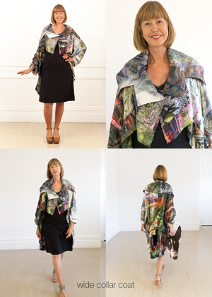 Fraser Crowe Silk Coat Escape Print, Lease, ethical fashion, sustainable fashion, designer clothes, plus size clothing, textile print clothing, luxury online fashion, slow fashion