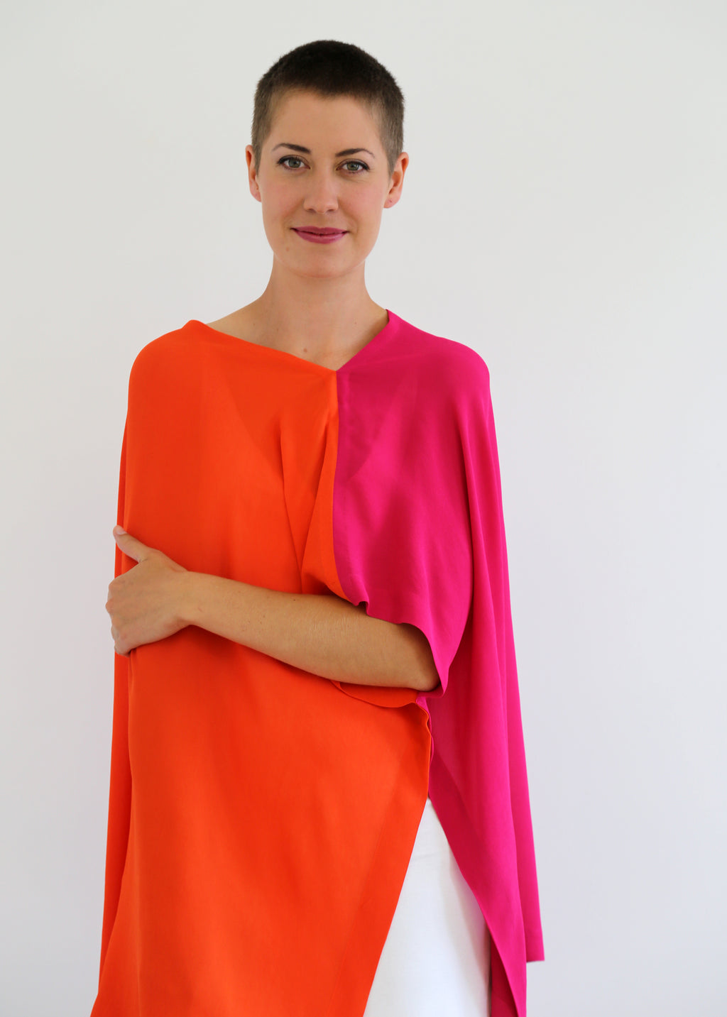 Fraser Crowe Slouch oversize top pink orange, ethical fashion, sustainable fashion, designer clothes, plus size clothing, textile print clothing, luxury online fashion, slow fashion