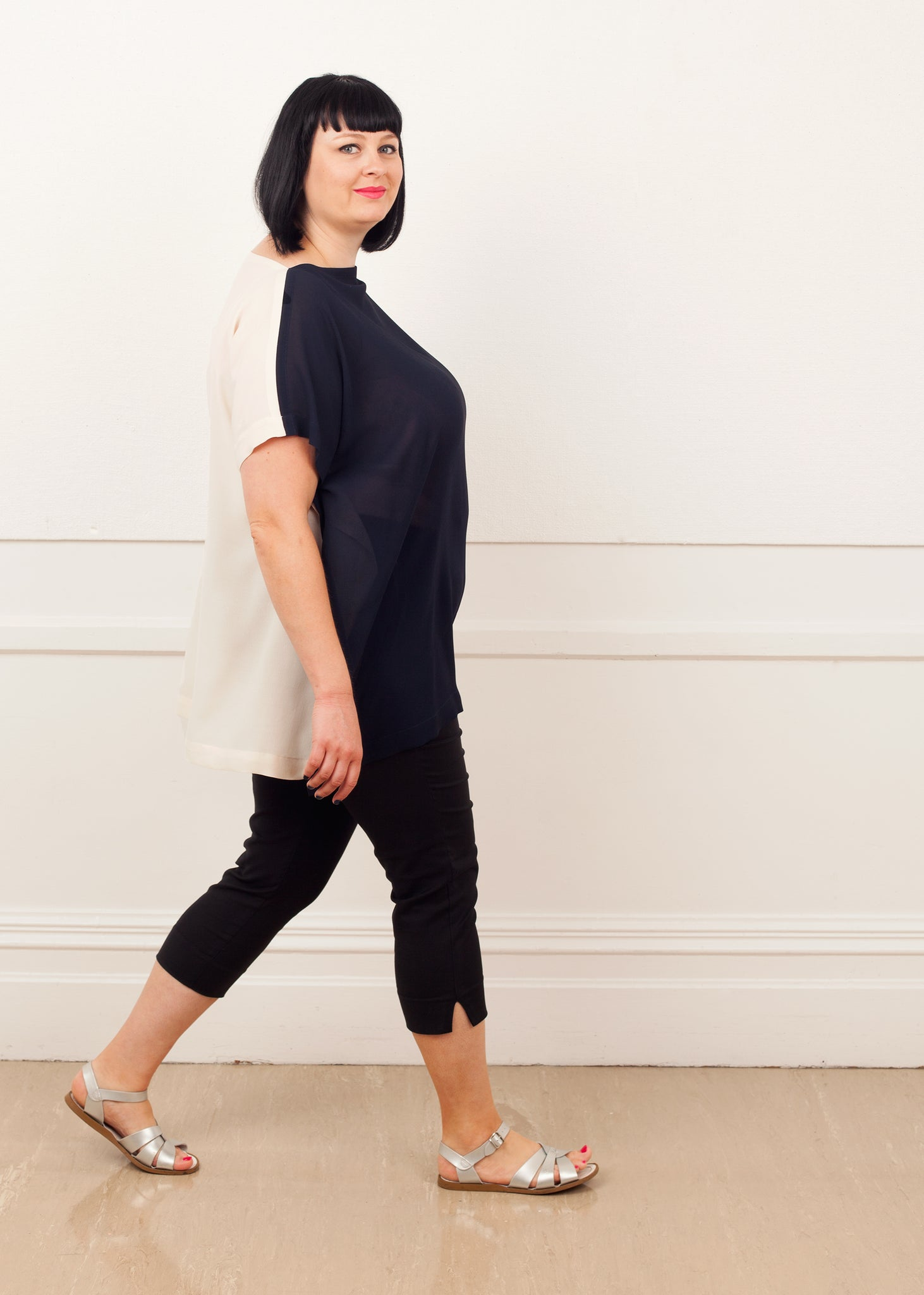 Fraser Crowe Slouch Oversize Top Cream Navy, ethical fashion, sustainable fashion, designer clothes, plus size clothing, textile print clothing, luxury online fashion, slow fashion