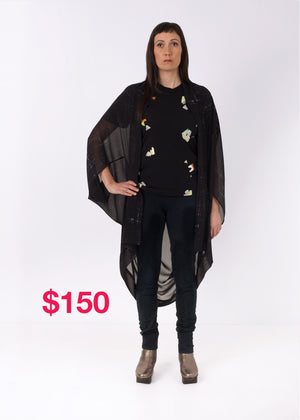 SALE Featherweight Kimono Black Square Scribble