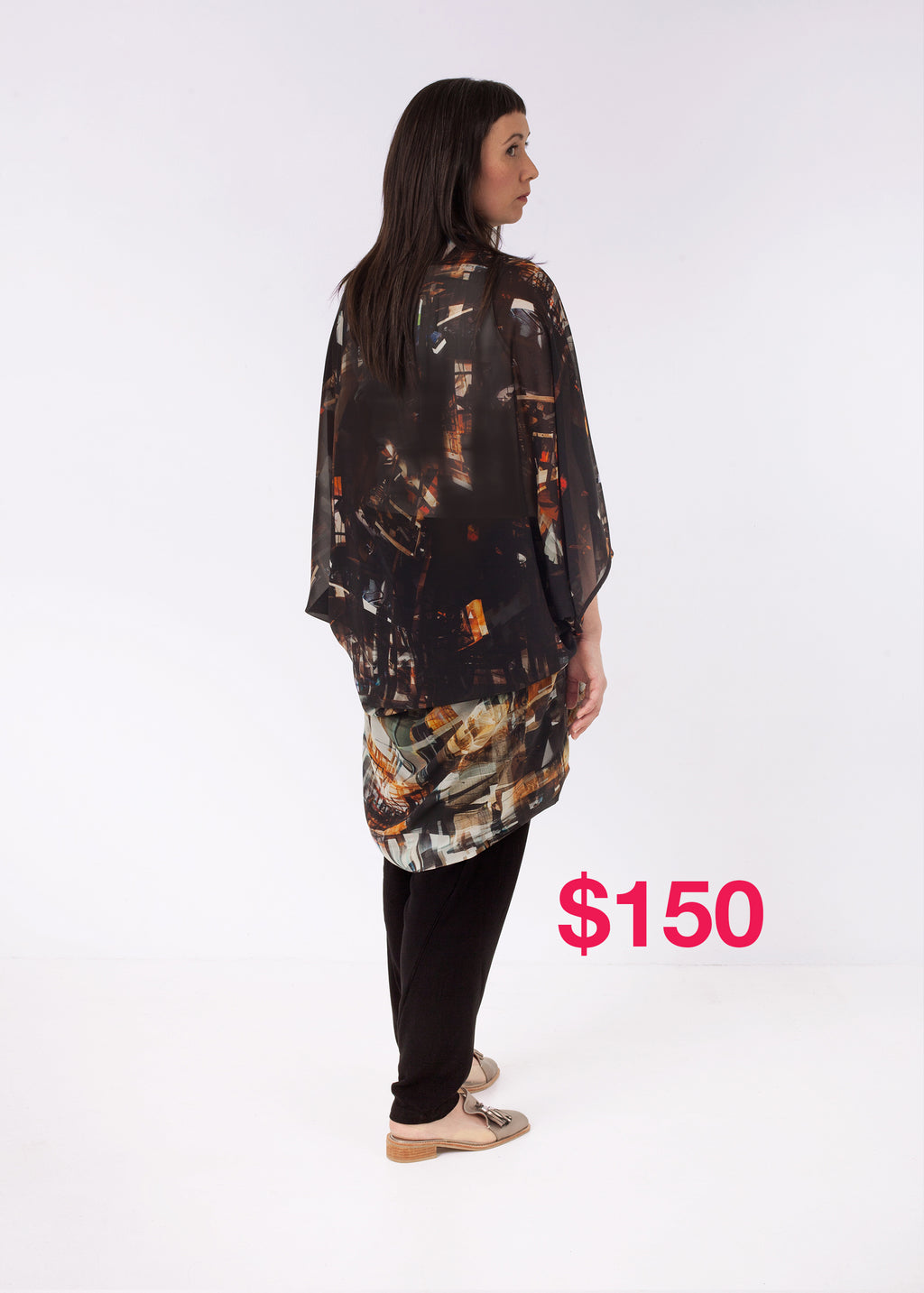 SALE Featherweight Kimono Constructing Chaos Brown