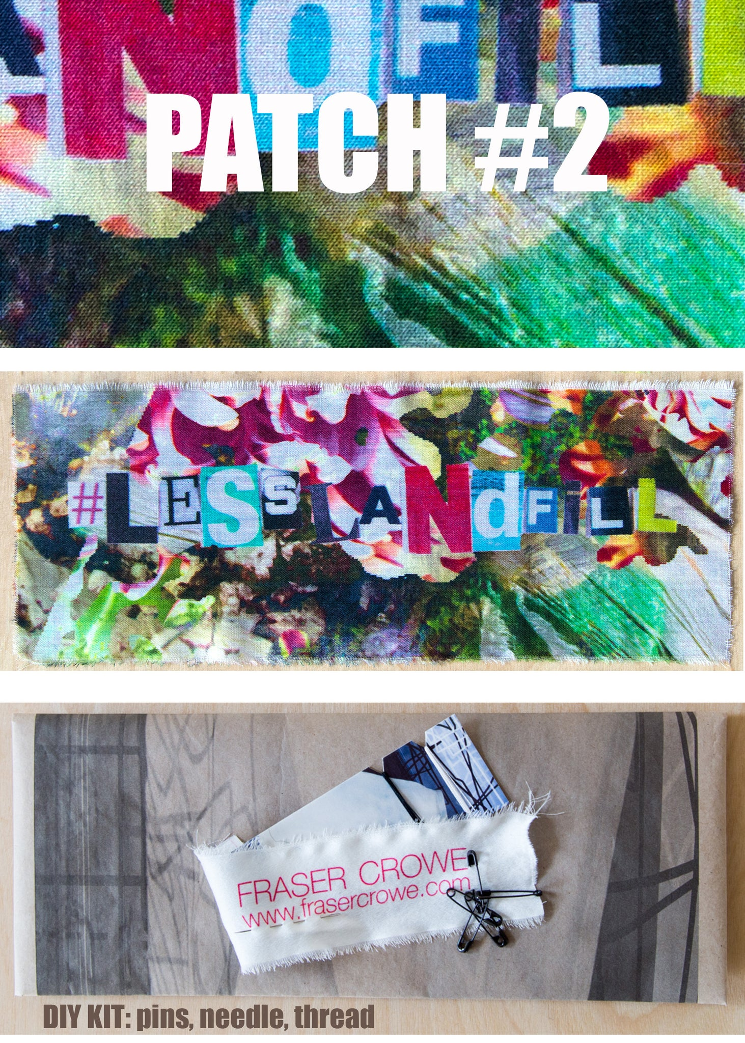#lesslandfill Patch 2 details -ethical fashion, sustainable fashion, designer clothes, plus size clothing, textile print clothing, luxury online fashion, slow fashion