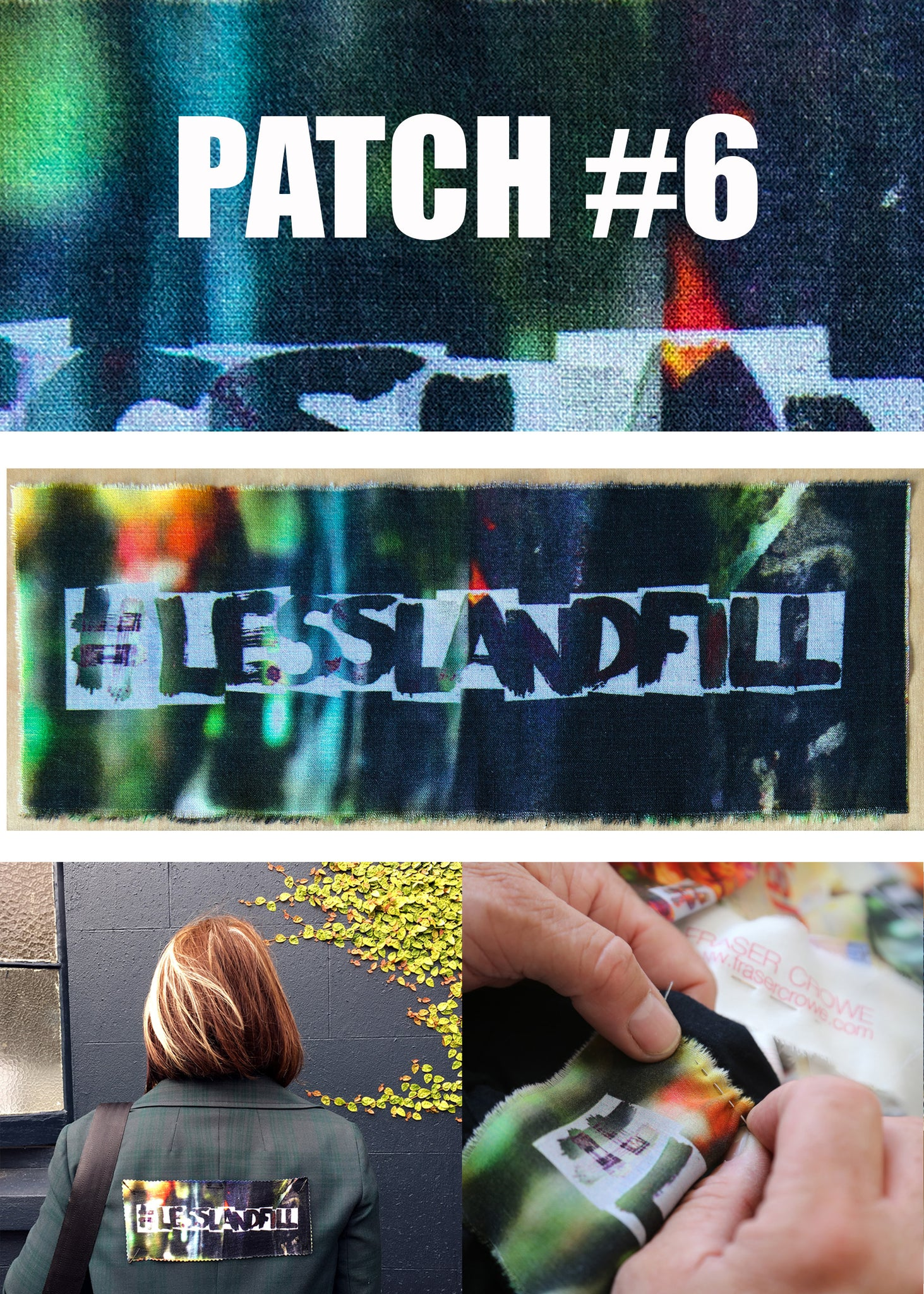 #lesslandfill Patch 6 details -ethical fashion, sustainable fashion, designer clothes, plus size clothing, textile print clothing, luxury online fashion, slow fashion