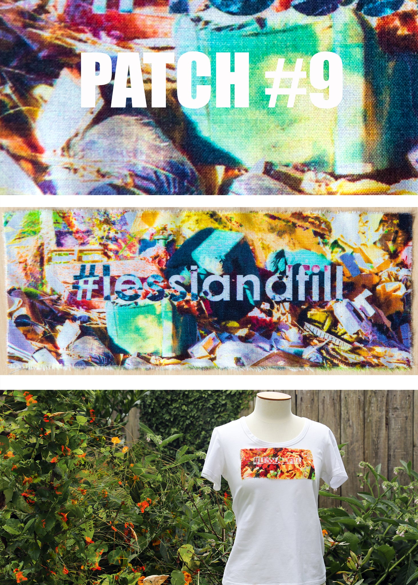 #lesslandfill Patch 9 details -ethical fashion, sustainable fashion, designer clothes, plus size clothing, textile print clothing, luxury online fashion, slow fashion