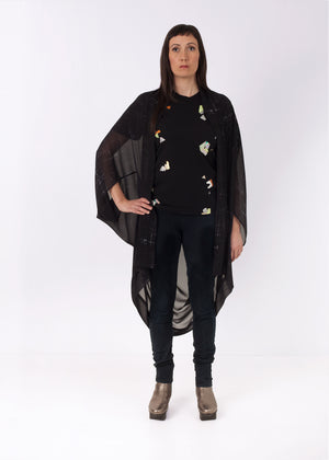 Fraser Crowe Featherweight Kimono Black Square Scribble,ethical fashion, sustainable fashion, designer clothes, plus size clothing, textile print clothing, luxury online fashion, slow fashion