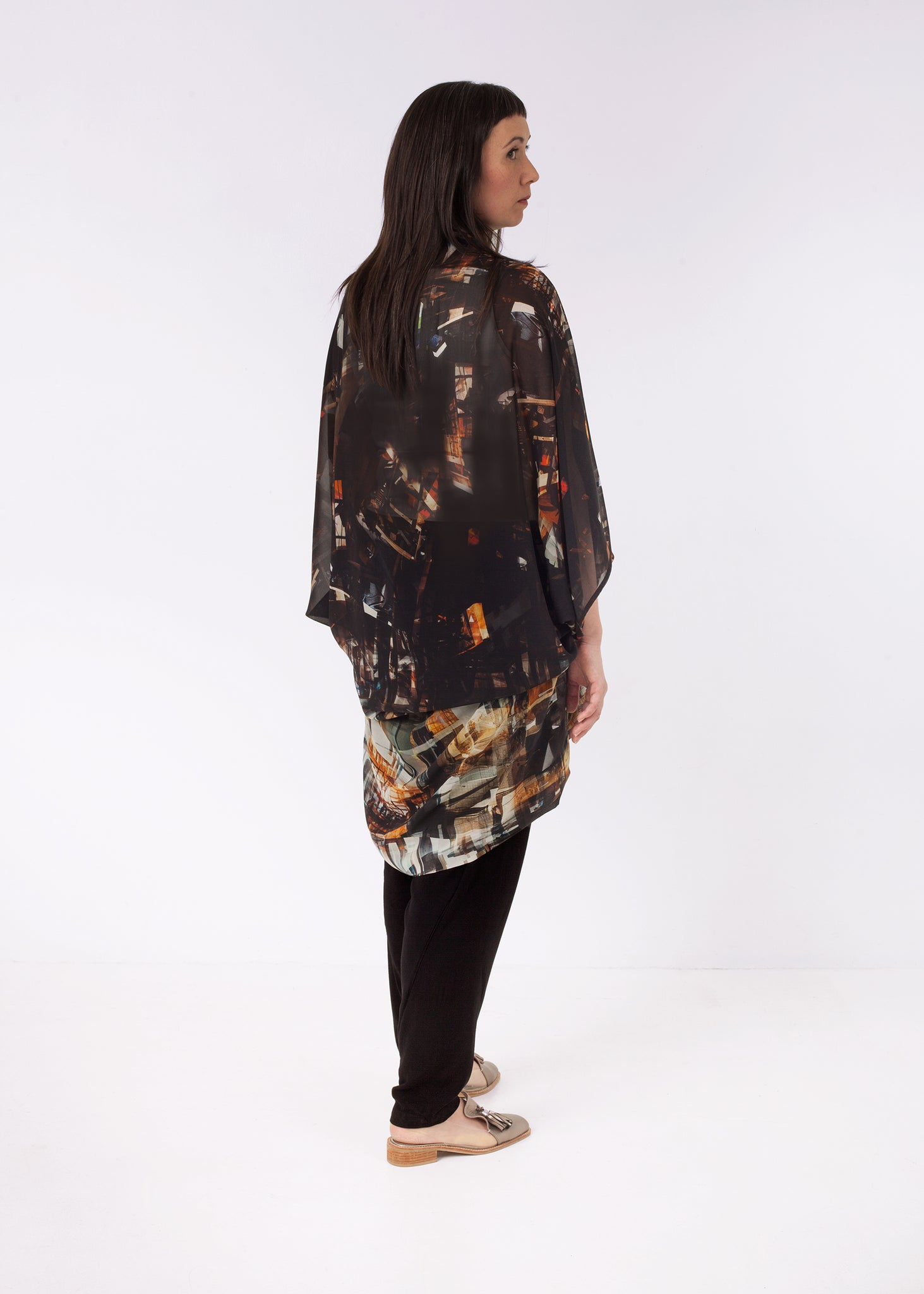 Featherweight Kimono Constructing Chaos Brown, ethical fashion, sustainable fashion, designer clothes, plus size clothing, textile print clothing, luxury online fashion, slow fashion