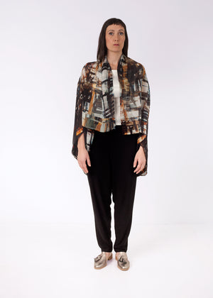 Fraser Crowe Featherweight Kimono Constructing Chaos Brown, ethical fashion, sustainable fashion, designer clothes, plus size clothing, textile print clothing, luxury online fashion, slow fashion