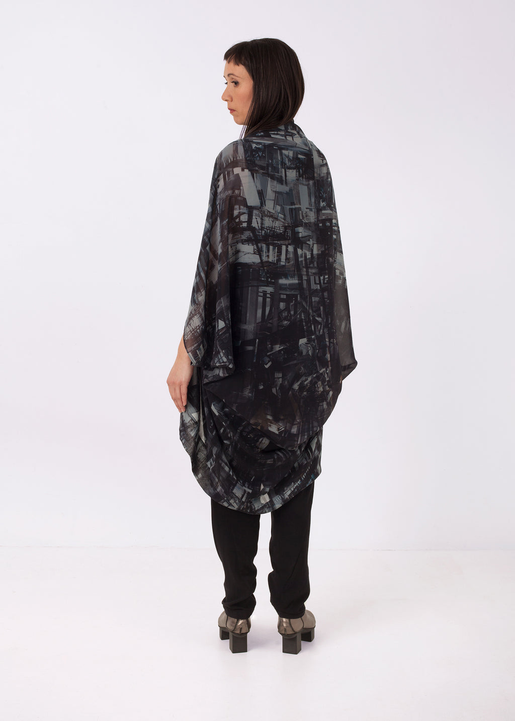 Featherweight Kimono Constructing Chaos Navy, ethical fashion, sustainable fashion, designer clothes, plus size clothing, textile print clothing, luxury online fashion, slow fashion
