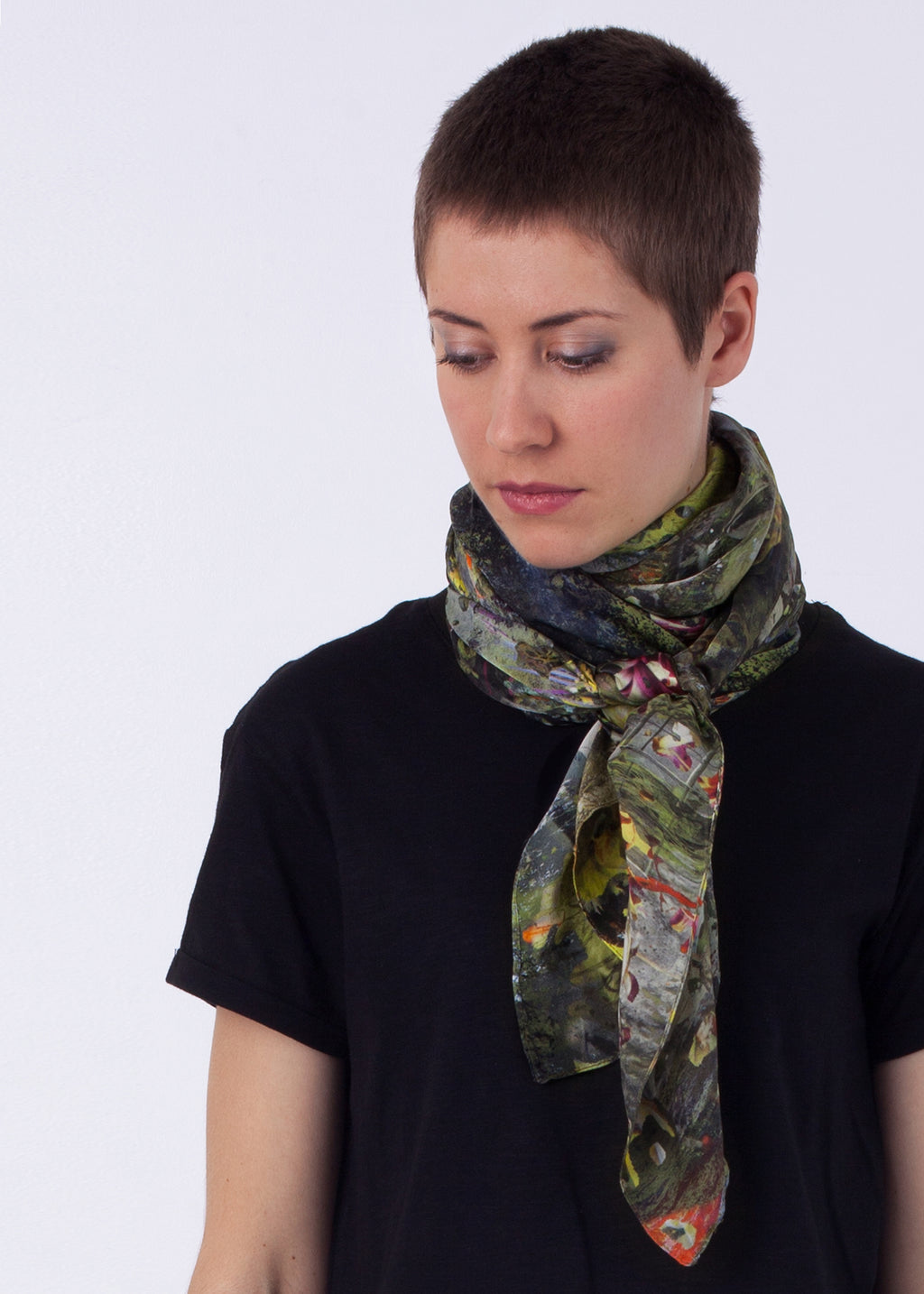 #lesslandfill Picture Silk Scarf, ethical fashion, sustainable fashion, designer clothes, plus size clothing, textile print clothing, luxury online fashion