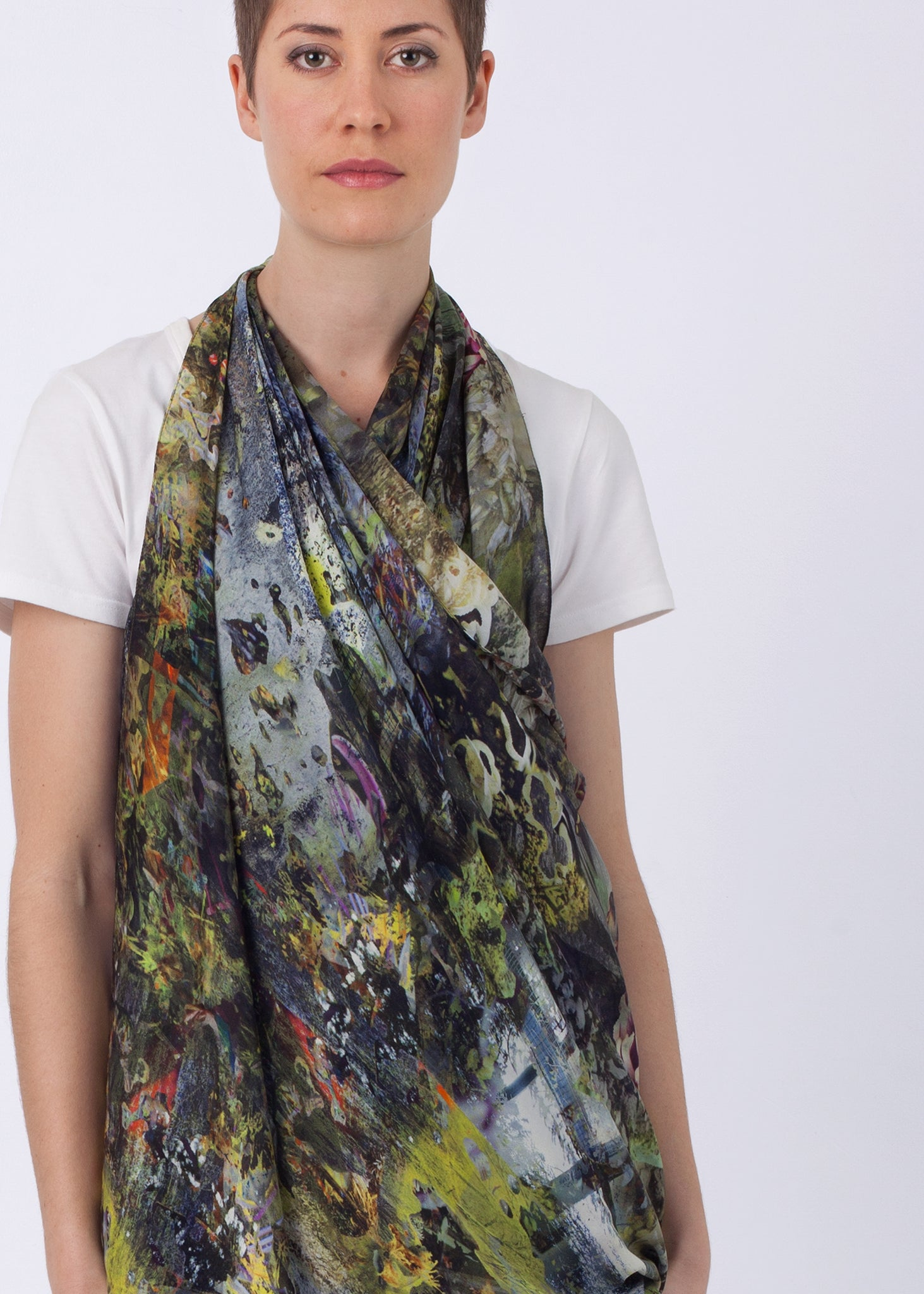 #lesslandfill Picture Silk Scarf, ethical fashion, sustainable fashion, designer clothes, plus size clothing, textile print clothing, luxury online fashion, slow fashion