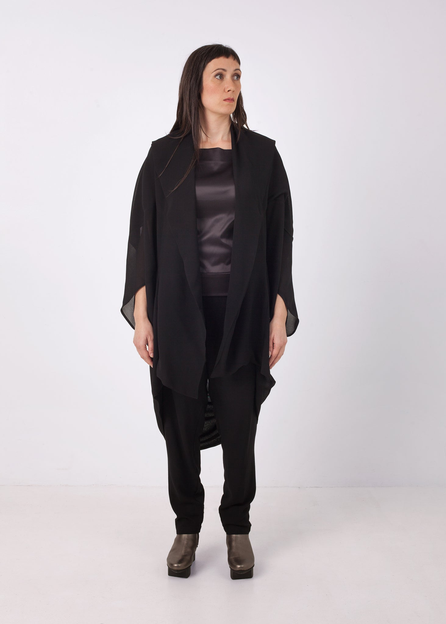 Fraser Crowe Slash Neck Twofold Top Charcoal Drawing Black, ethical fashion, sustainable fashion, designer clothes, plus size clothing, textile print clothing, luxury online fashion