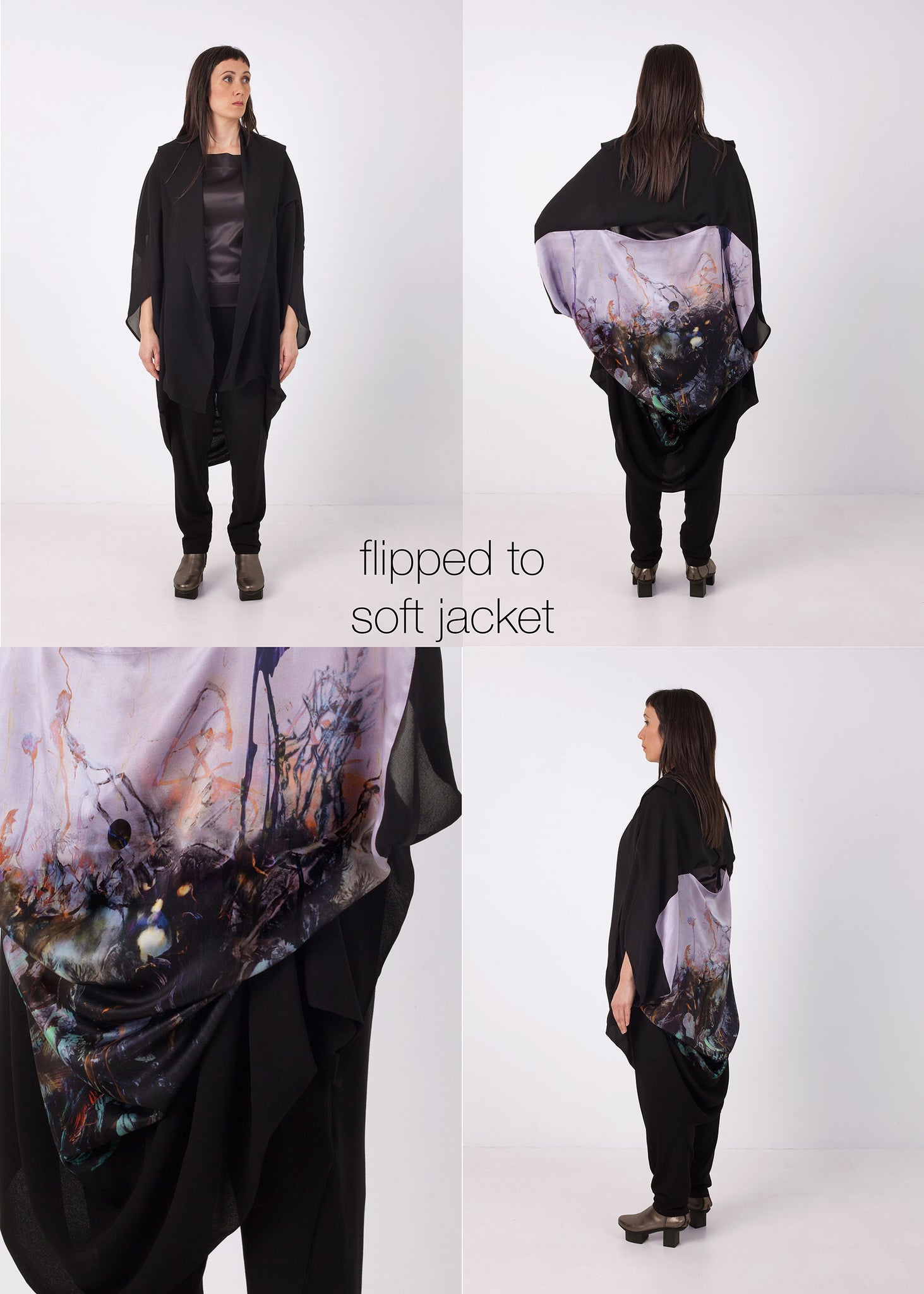 frasercrowe_slashneck_twofold_top_charcoal_drawing_print_black_soft_jacket, ethical fashion, sustainable fashion, designer clothes, plus size clothing, textile print clothing, luxury online fashion, slow fashion