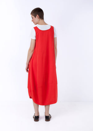 Fraser Crowe Wasteless Dress Coral, ethical fashion, sustainable fashion, designer clothes, plus size clothing, textile print clothing, luxury online fashion