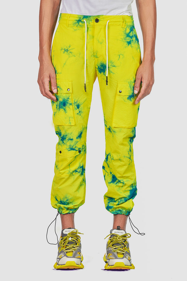 Tie Dye Cargo Pants (Yellow)