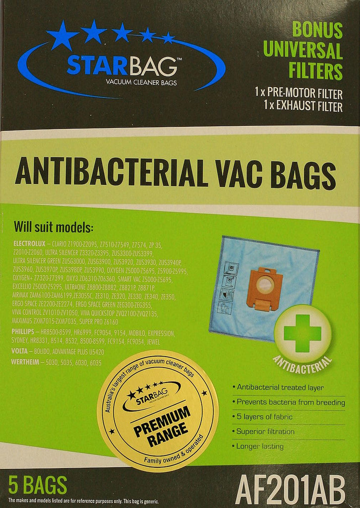 Antibacterial Bags for Electrolux, Excellio,Oxygen & Phillips
