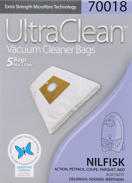 Ultraclean 70018 Vacuum Cleaner Bags for Nilfisk,Hoover,Wertheim