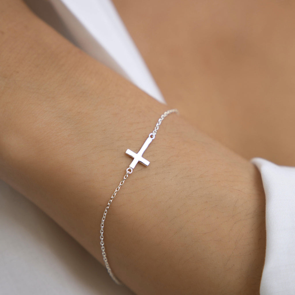Small Side Cross Bracelet - ShopHannaLee