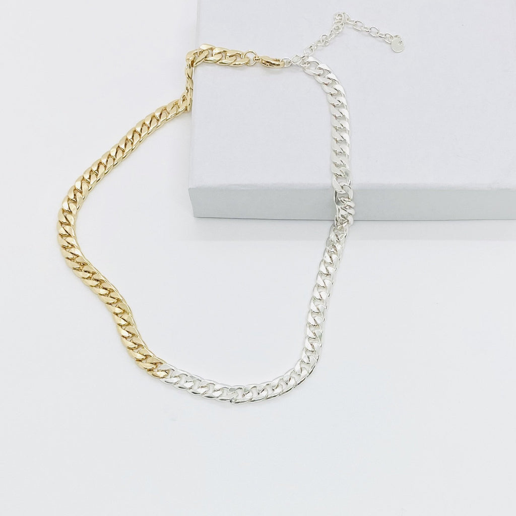 Two Tone Curb Chain Necklace