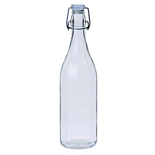 Excèlsa Ribbed Transparent Glass Bottle With Lid 1 Lt.