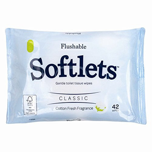 42 Flushable Softlets Toilet Wipes