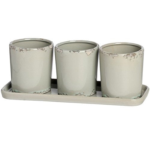 Hill Interiors Rustic Plant Pots with Tray, Set of 3, Beige