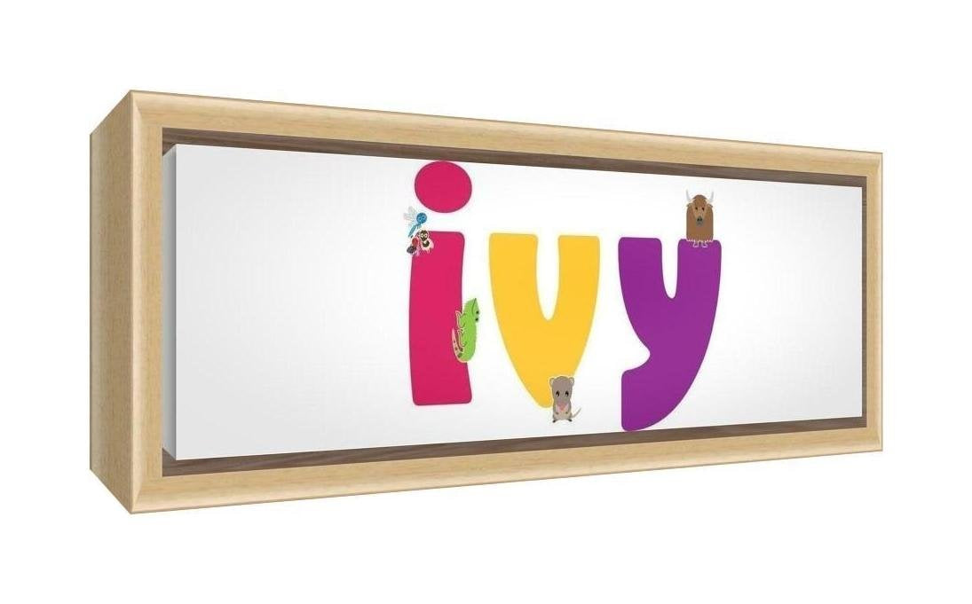 Feel Good Art Framed Box Canvas with Solid Natural Wooden Surround in Cute Illustrative Design Girl's Name (34 x 88 x 3 cm, Large, Ivy)