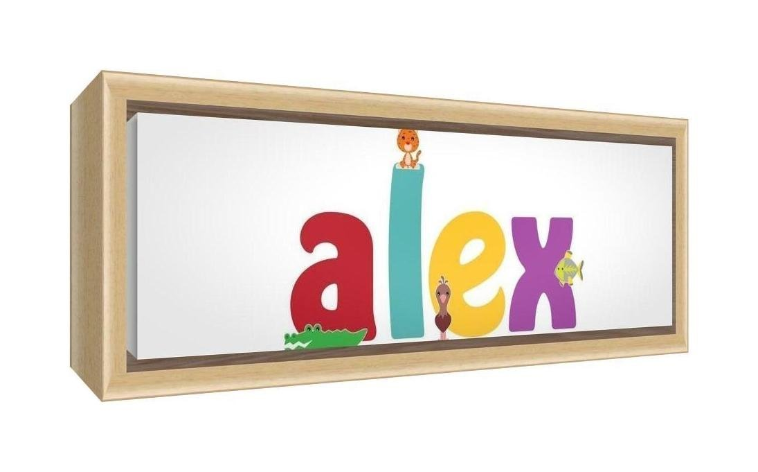 Feel Good Art Framed Box Canvas with Solid Natural Wooden Surround in Cute Illustrative Design Boy's Name (25 x 63 x 3 cm, Medium, Alex)