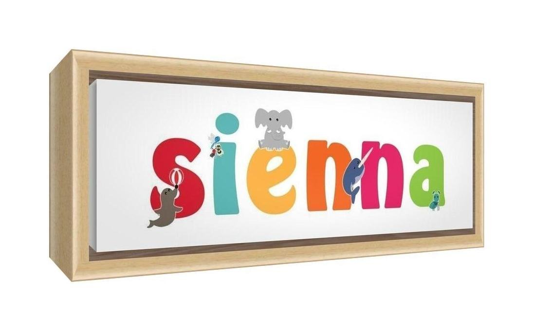 Feel Good Art Framed Box Canvas with Solid Natural Wooden Surround in Cute Illustrative Design Girl's Name (34 x 88 x 3 cm, Large, Sienna)
