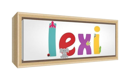 Feel Good Art Framed Box Canvas with Solid Natural Wooden Surround in Cute Illustrative Design Girl's Name (34 x 88 x 3 cm, Large, Lexi)